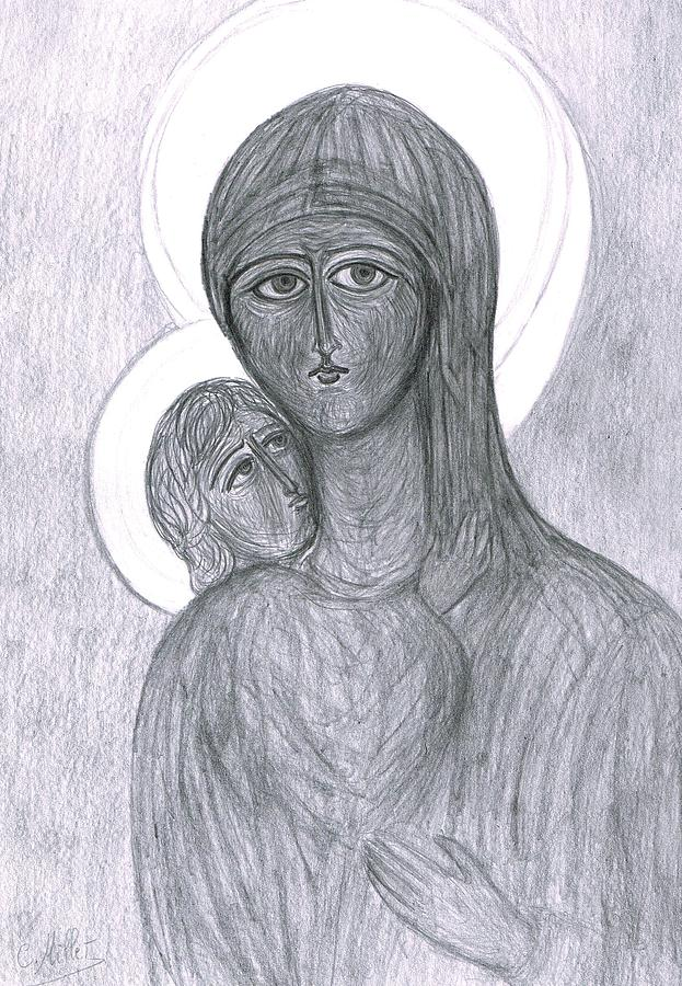 Icon Drawing - Icon Of The Virgin And Child by Cindy MILLET