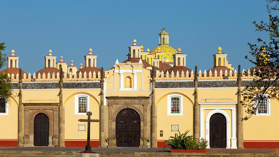 Mexico Photograph - Iconic Mexican Chapel (capilla Real) Under A Blue Sky In Cholula by Cavan Images