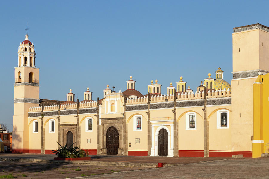 Visit Mexico Photograph - Iconic Mexican Chapel (capilla Real) Under A Blue Sky In Puebla by Cavan Images