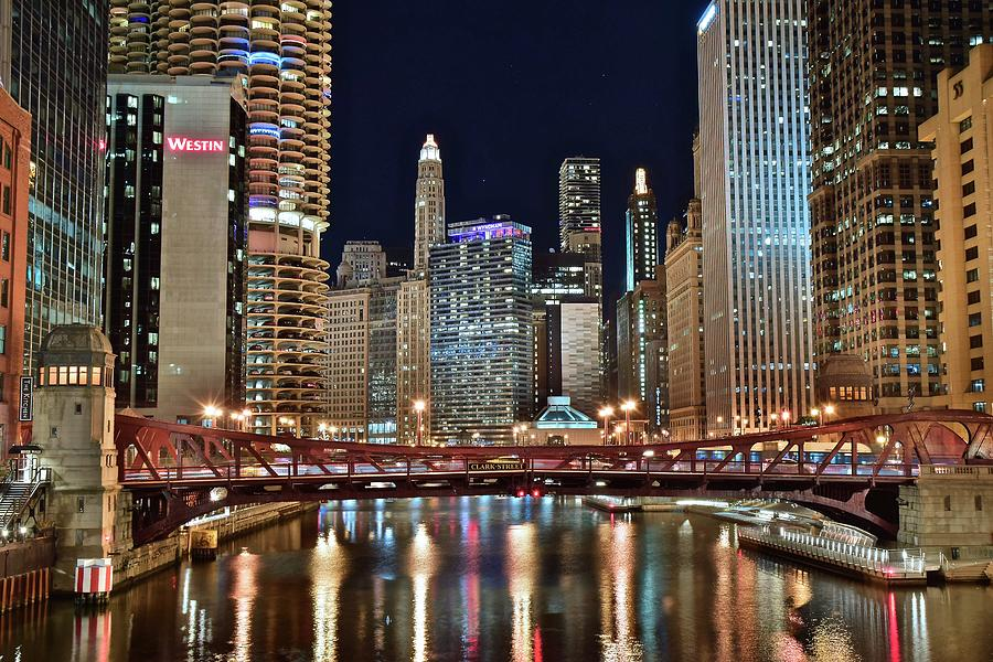 Chicago Photograph - Iconic Night View Down The River by Frozen in Time Fine Art Photography