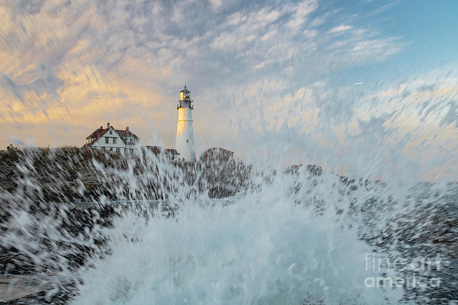 Iconic Portland Head Light With A Splash of Energy by Wayne Moran