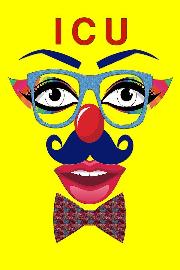 Clown Digital Art - ICU by Carlos Diaz