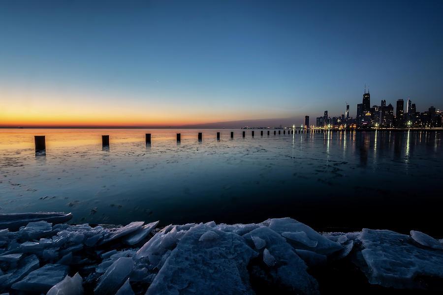 Icy Chicago Skyline at dawn  by Sven Brogren