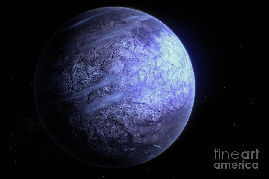 Exoplanet Photograph - Icy Exoplanet by Hypersphere/science Photo Library