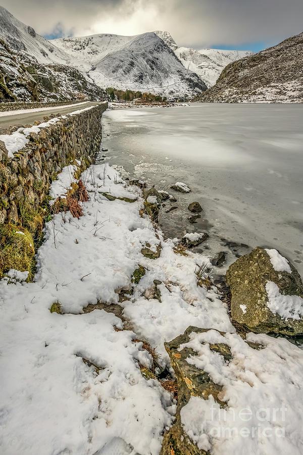 Icy Ogwen Lake Snowdonia by Adrian Evans