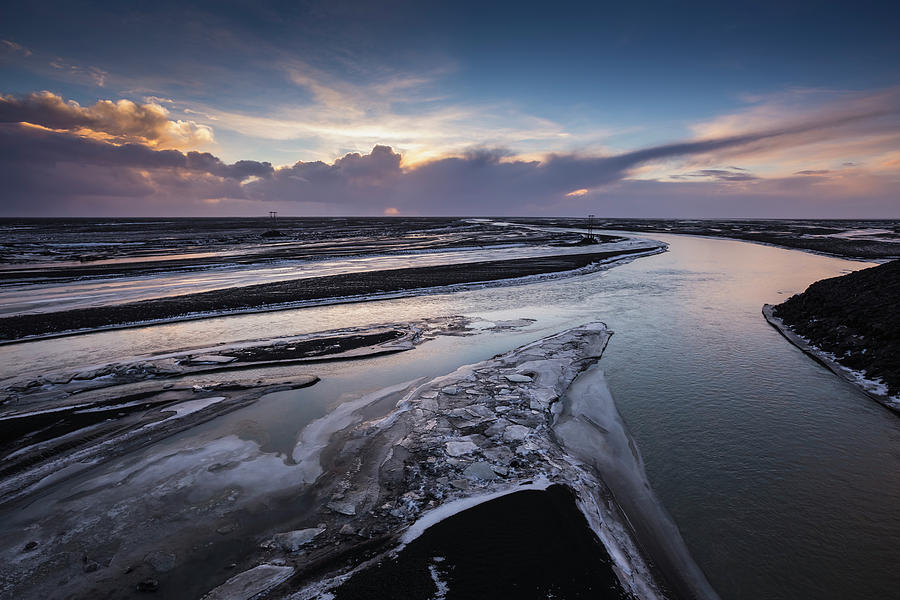 Icy River Channels At Sunset Photograph by Ed Norton