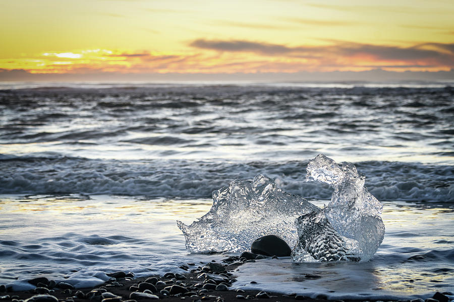 Iceland Photograph - Icy Sunrise and Surf by Framing Places