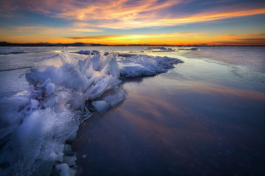 Icy Sunset on Antelope Island  by Michael Ash