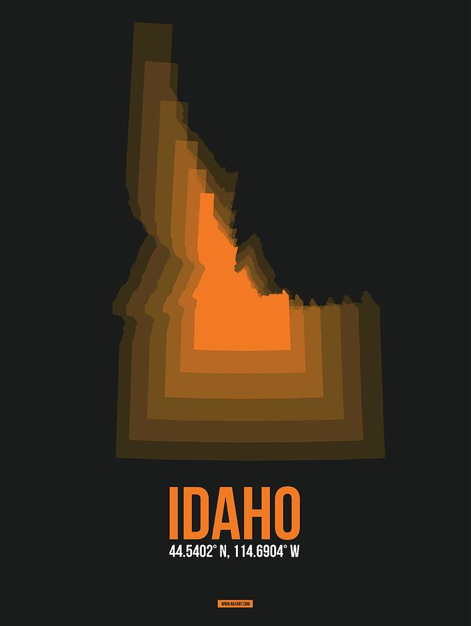 Idaho Digital Art - Idaho Orange Map by Naxart Studio
