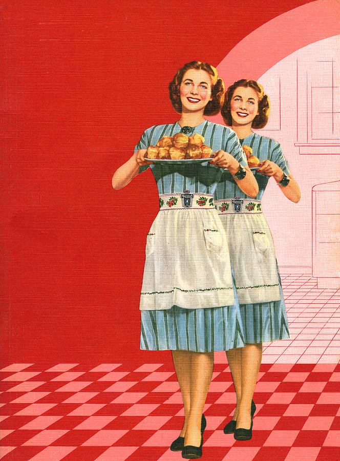Identical Women Serving Rolls Digital Art by Graphicaartis