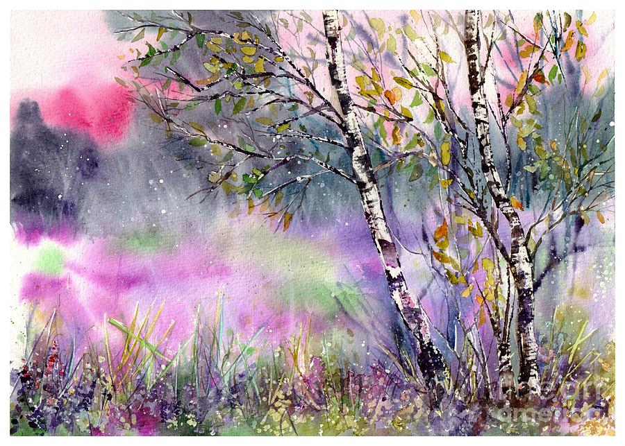 Watercolor Painting - Idyllic Meadow by Suzann Sines