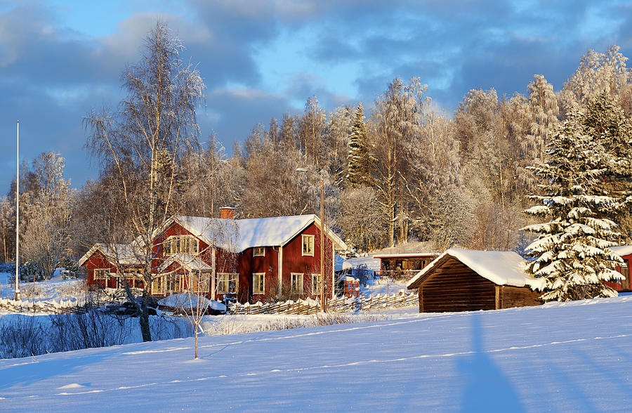 Idyllic Red Swedish House Against A Photograph by Jonaseriksson