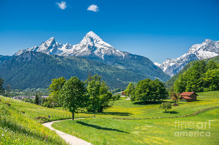 German Photograph - Idyllic Summer Landscape In The Alps by Canadastock