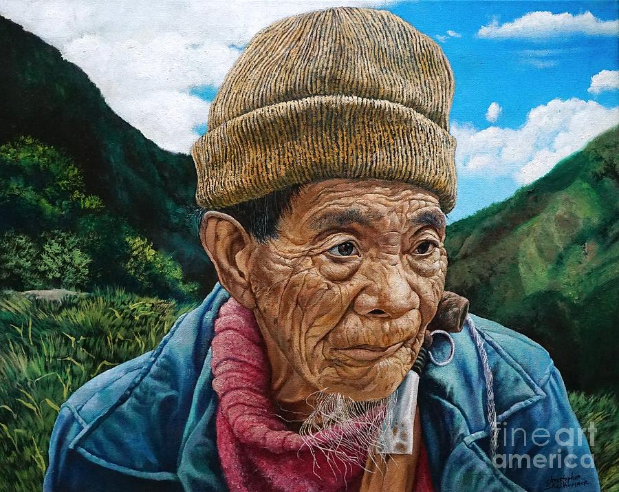 Ifugao Tribesman in Three Quarter View Portrait in oil painting by Christopher Shellhammer