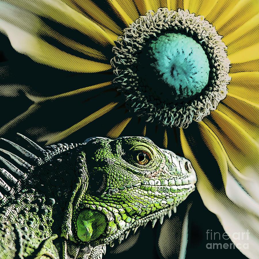 Plant Digital Art - Iguana And Sunflower by Phil Perkins