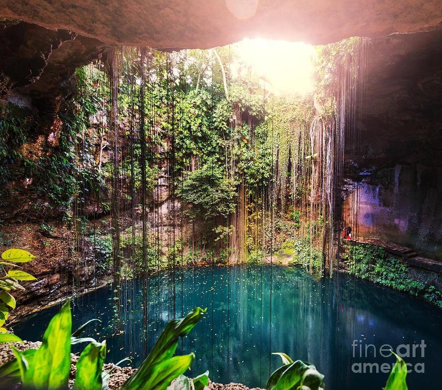 Pond Photograph - Ik-kil Cenote,  Mexico by Galyna Andrushko