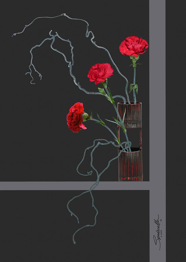 Red Carnations and Bamboo Vase by Spadecaller