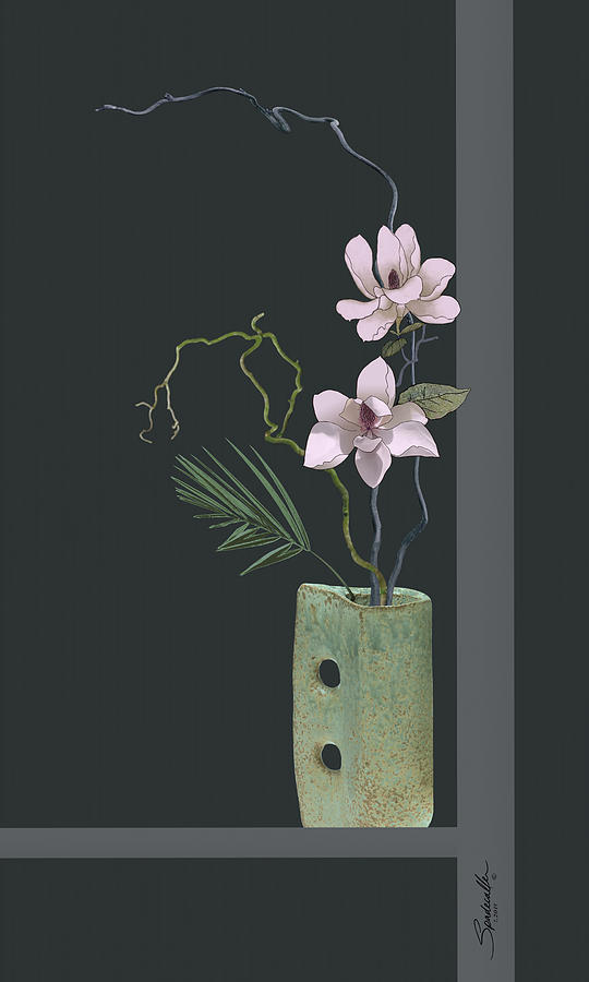 Ikebana with Magnolia Blossoms by Spadecaller