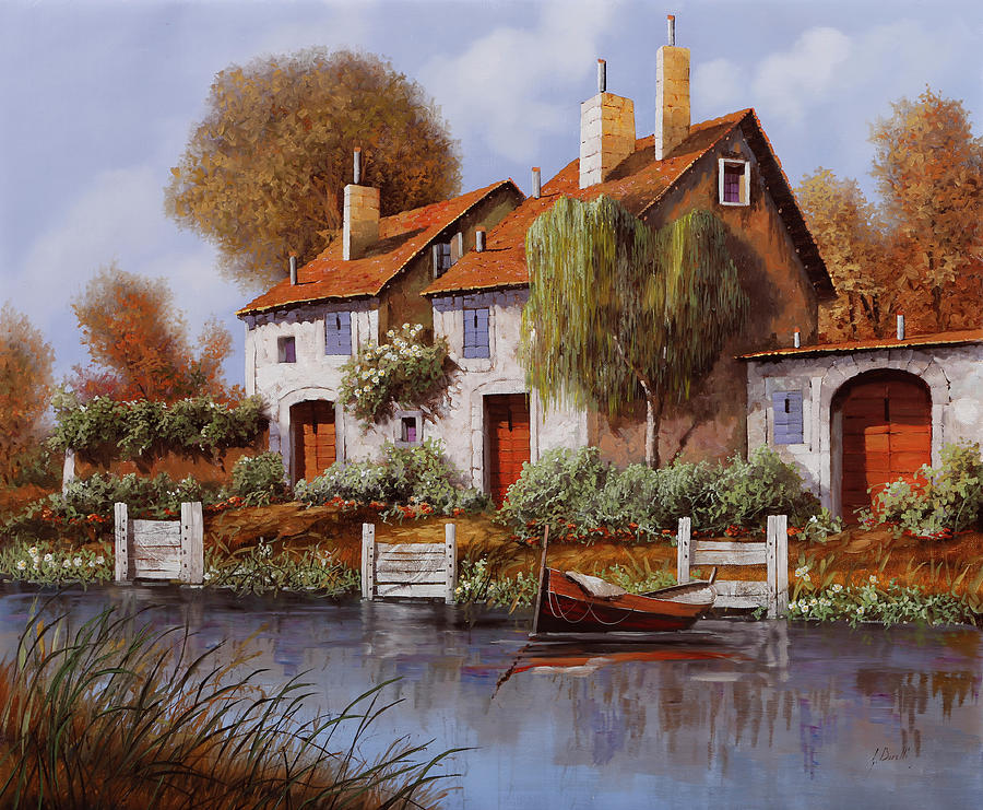 House By The River Painting - Il Salice by Guido Borelli