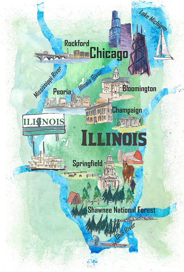 Illinois Usa State Illustrated Travel Poster Favorite Tourist Map ...