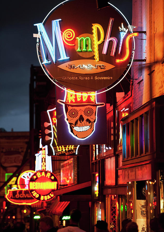 Illuminated Bar Signs On Beale Street Photograph by Tetra Images