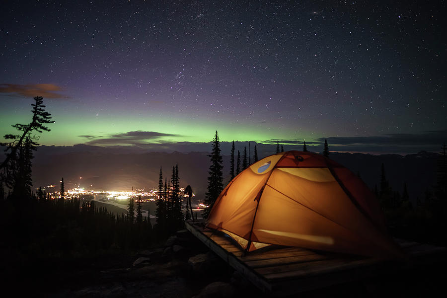 Illuminated Camping Tent At Night With Mountain Town ...