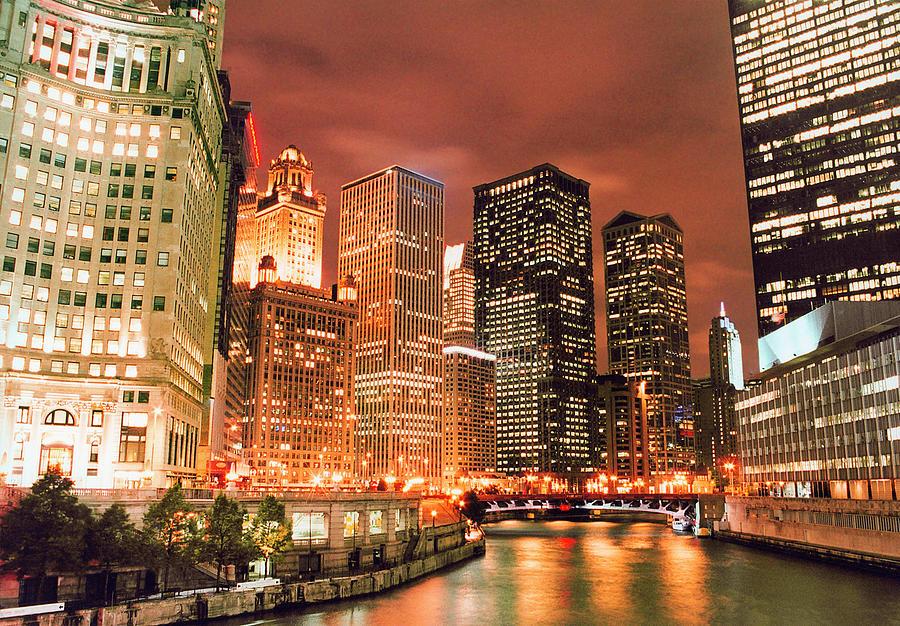 Illuminated Chicago River Skyline At Photograph by Vfka