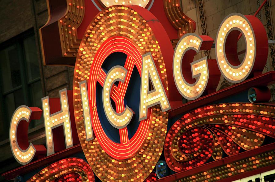 Illuminated Chicago Theater Sign Photograph by Hisham Ibrahim