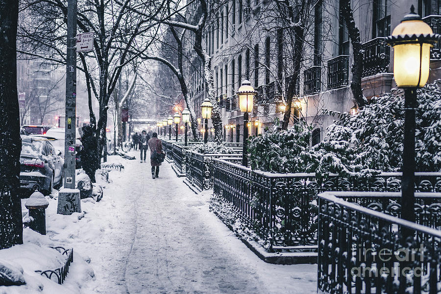Illuminated Lamp Posts By Snow Covered Photograph by Sven Hartmann / Eyeem