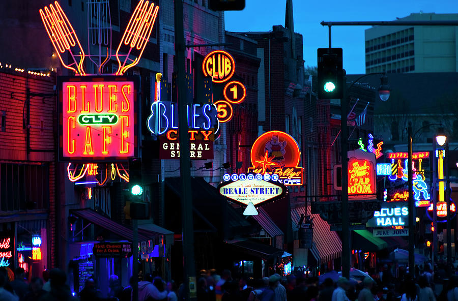 Illuminated Signs On Beale Street In Photograph by Tetra Images