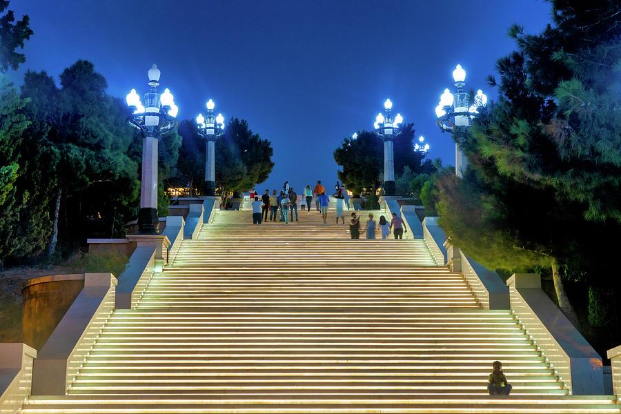 Illuminated staircase leading to Dagustu Park by Fabrizio Troiani