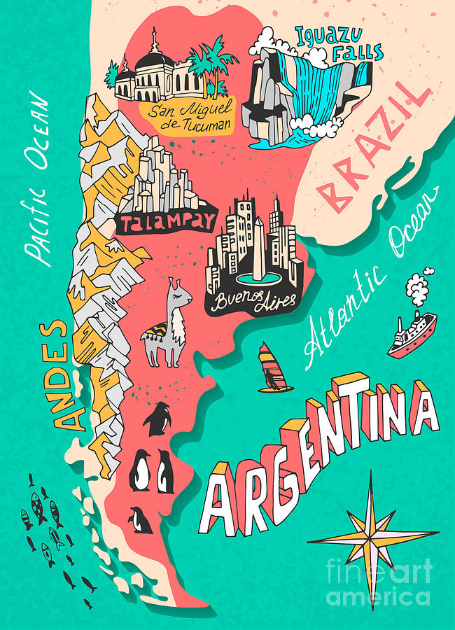 Country Digital Art - Illustrated Map Of Argentina. Travel by Daria i