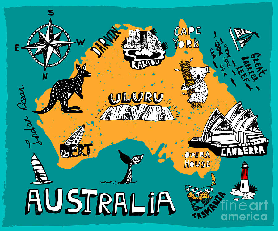 Country Digital Art - Illustrated Map Of Australia by Daria i