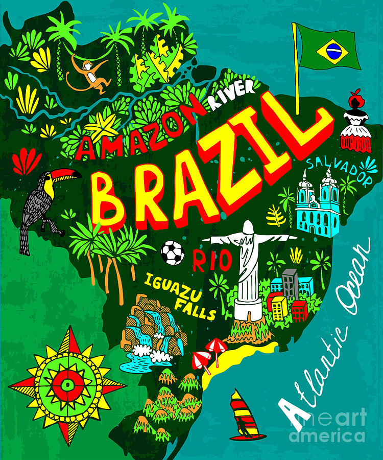 Country Digital Art - Illustrated Map Of Brazil by Daria i