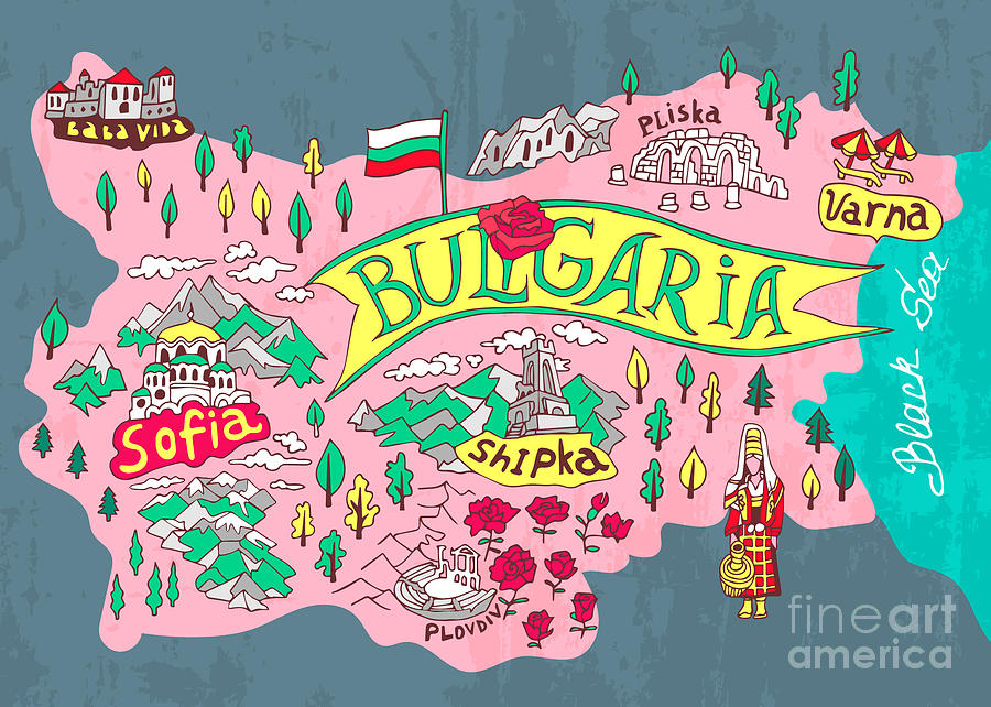 Country Digital Art - Illustrated Map Of Bulgaria. Travels by Daria i