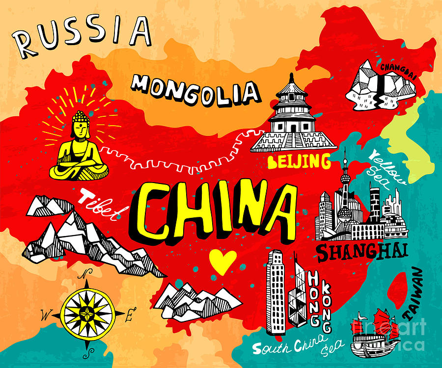 Country Digital Art - Illustrated Map Of China by Daria i