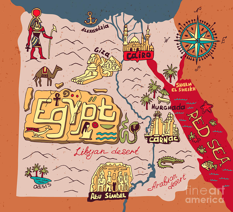 Country Digital Art - Illustrated Map Of Egypt by Daria i