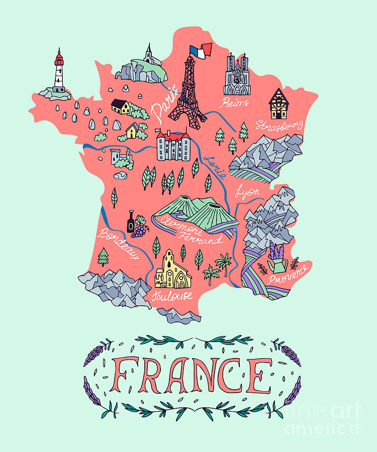 Country Digital Art - Illustrated Map Of France. Travel by Daria i