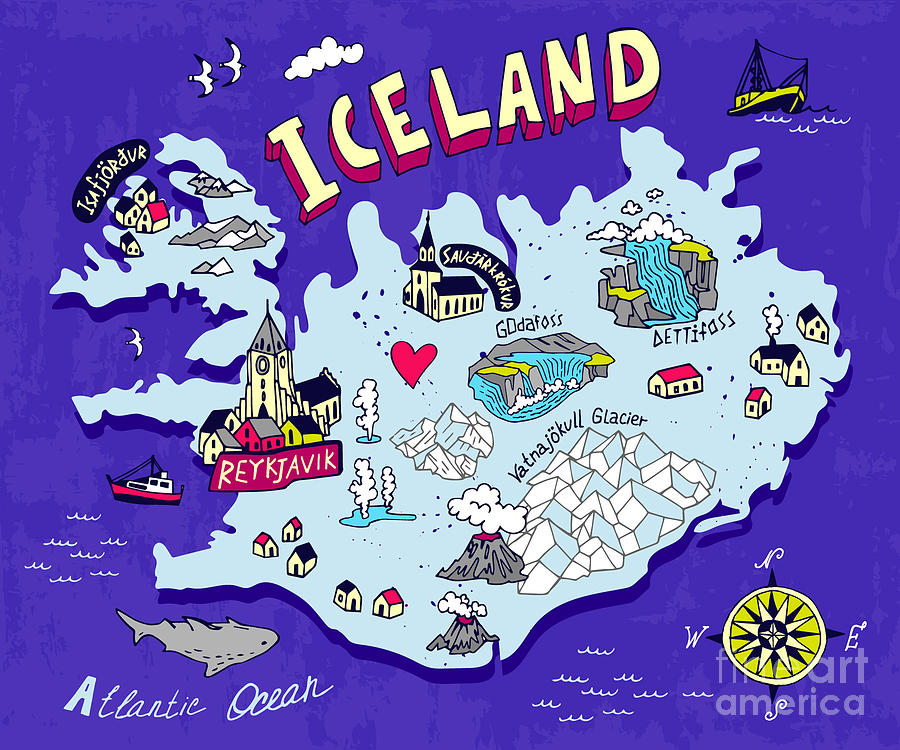 Country Digital Art - Illustrated Map Of Iceland. Travel by Daria i