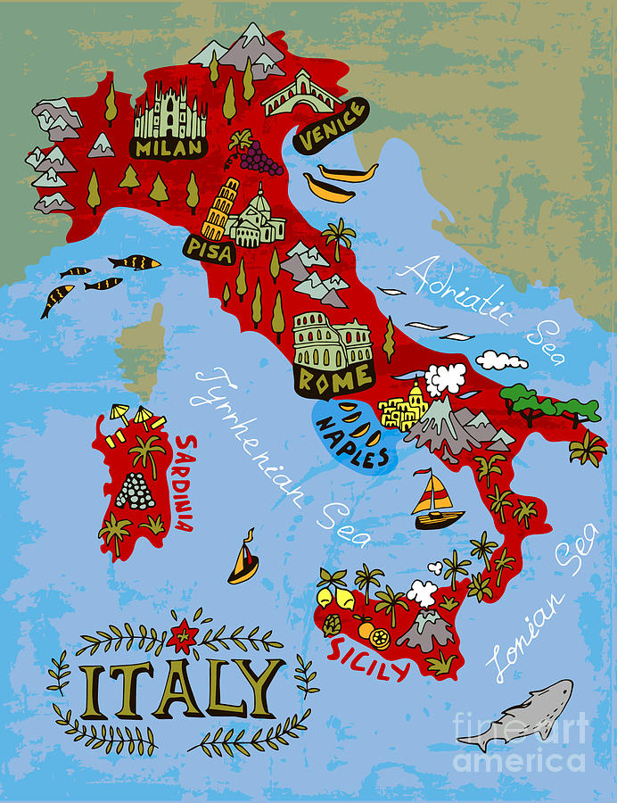 Country Digital Art - Illustrated Map Of Italy. Travel by Daria i
