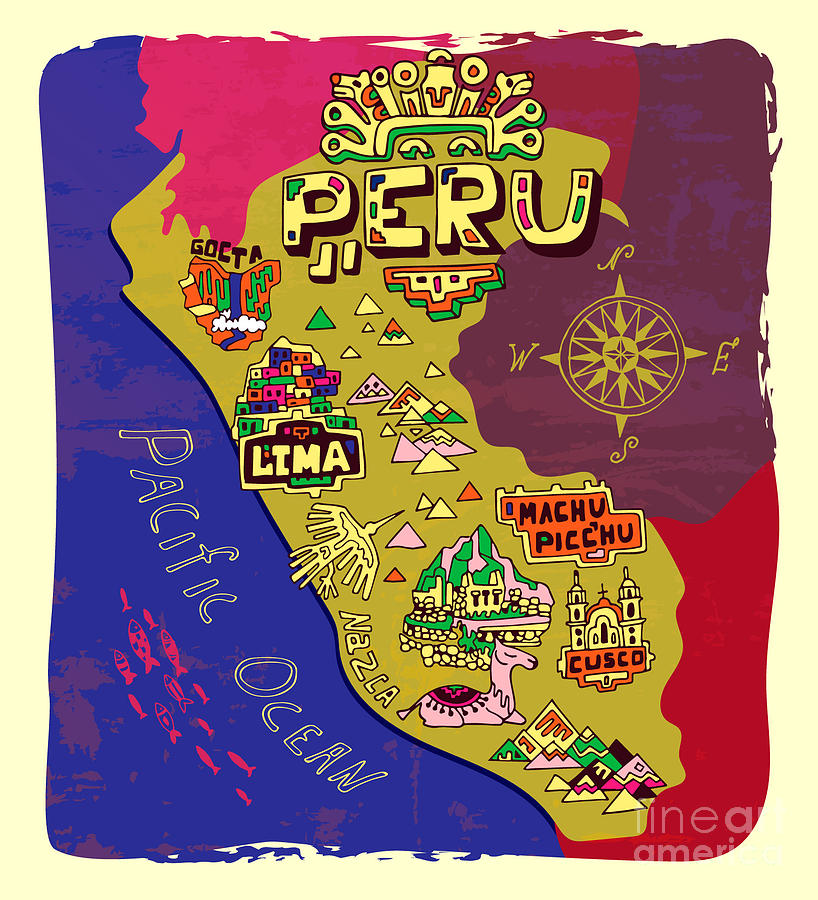 Country Digital Art - Illustrated Map Of Peru. Travel by Daria i
