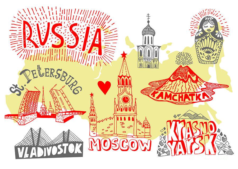 Vladivostok Digital Art - Illustrated Map Of Russia by Daria i