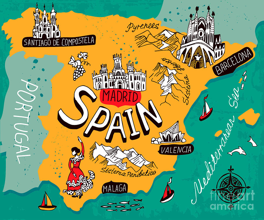 Country Digital Art - Illustrated Map Of Spain by Daria i