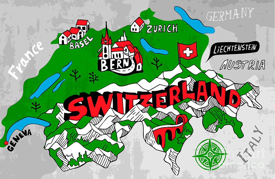 Country Digital Art - Illustrated Map Of Switzerland by Daria i