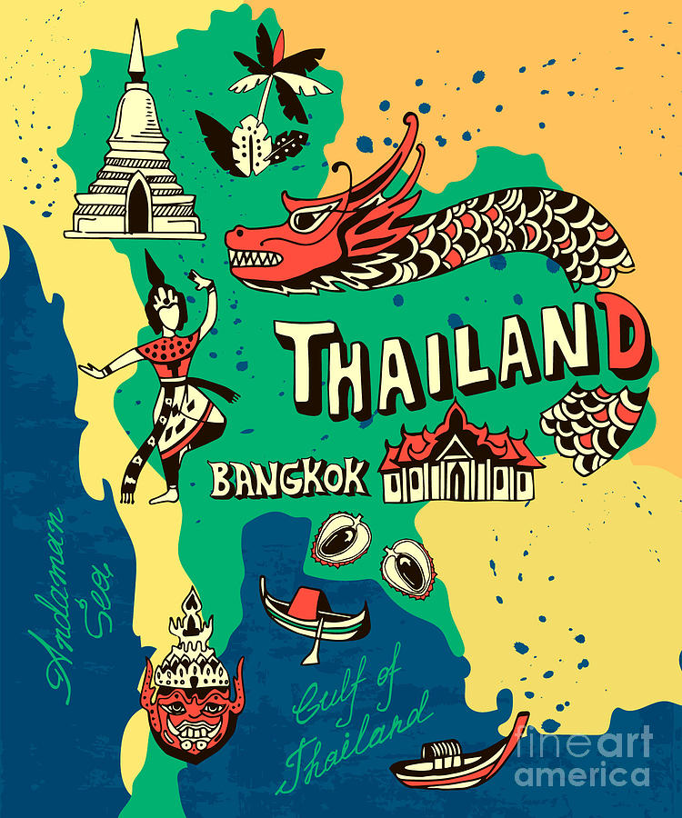 Country Digital Art - Illustrated Map Of Thailand by Daria i