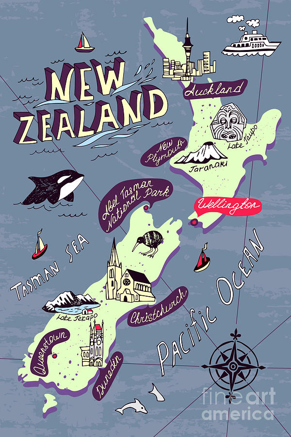 Country Digital Art - Illustrated Map Of The New Zealand by Daria i