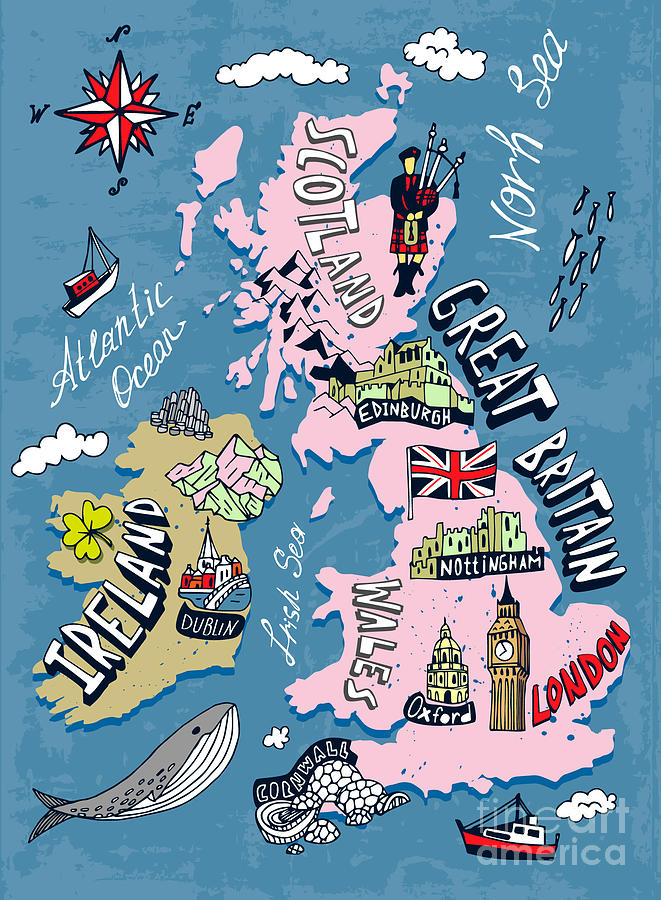 Illustrated Map Of The Uk And Ireland Digital Art by Daria i