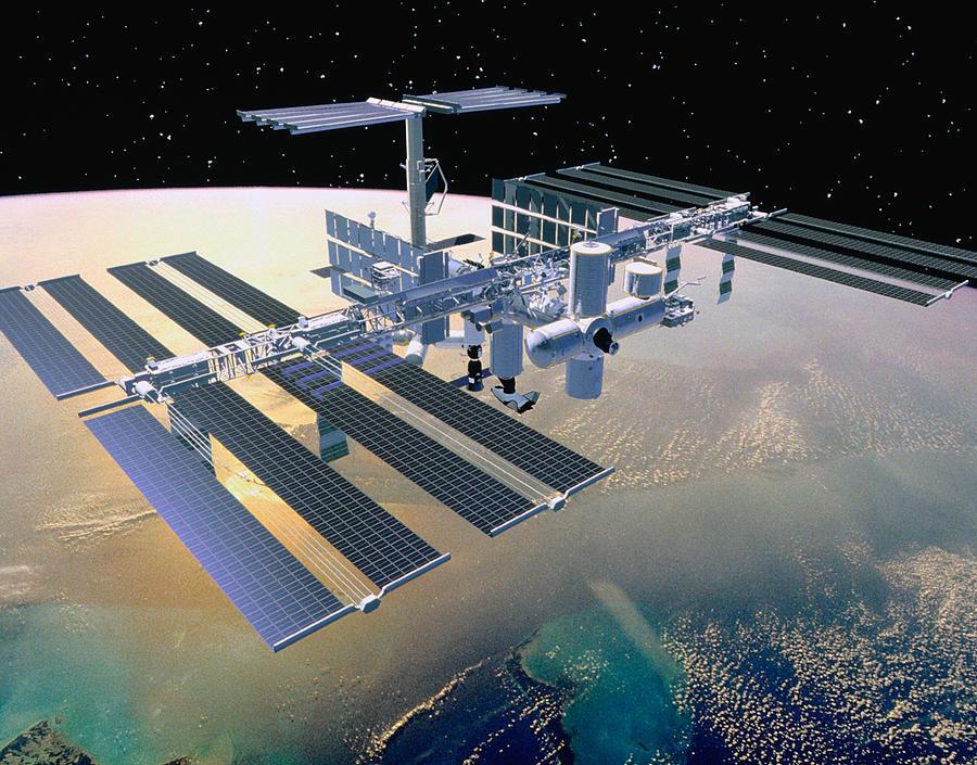 Illustration Of A Space Station In Orbit Digital Art by Stocktrek