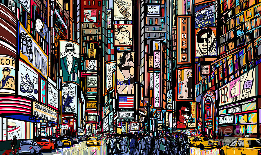 Couple Digital Art - Illustration Of A Street In New York by Isaxar