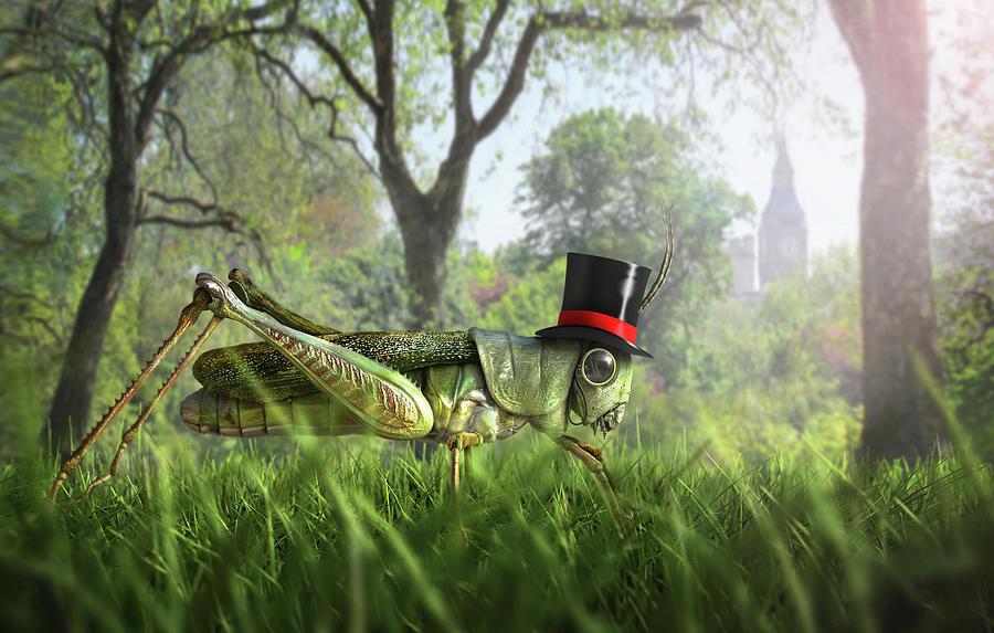 Illustration Of Cricket Wearing Monocle Digital Art by Chris Clor